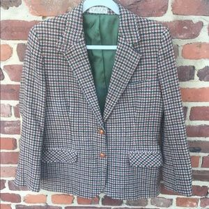 Vintage Houndstooth Check Wool suede Blazer Jacket